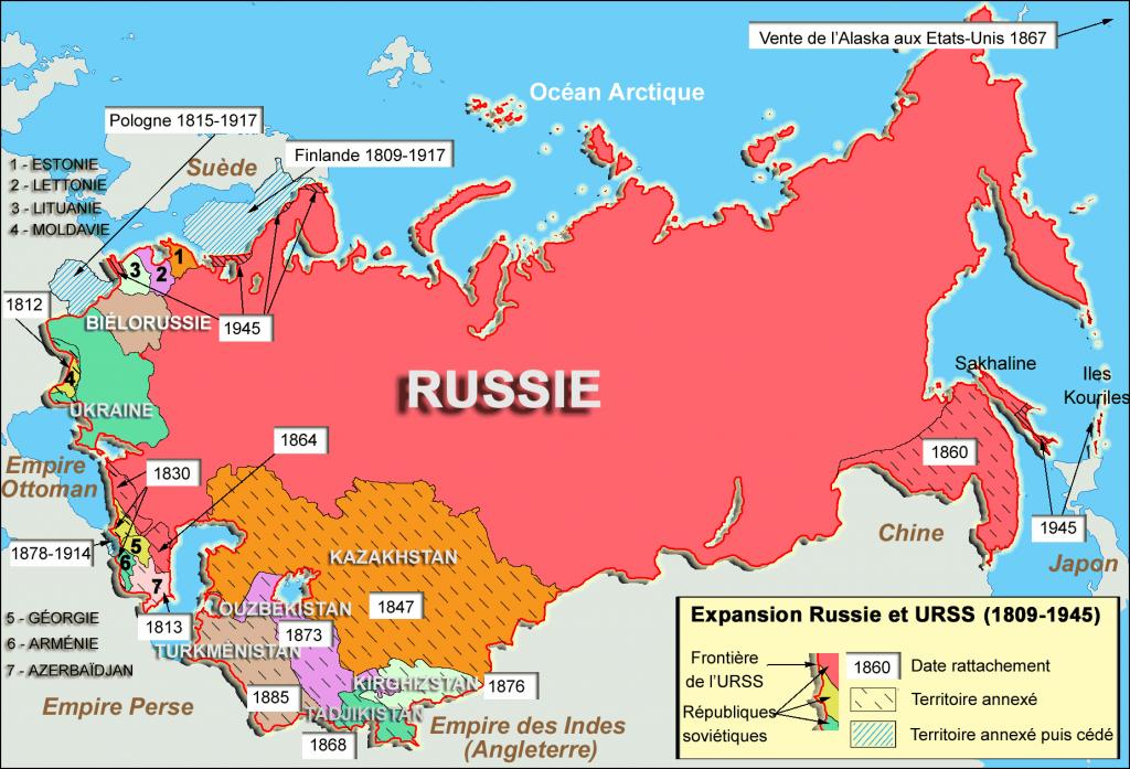 L'URSS et ses 15 républiques socialistes et soviétiques.